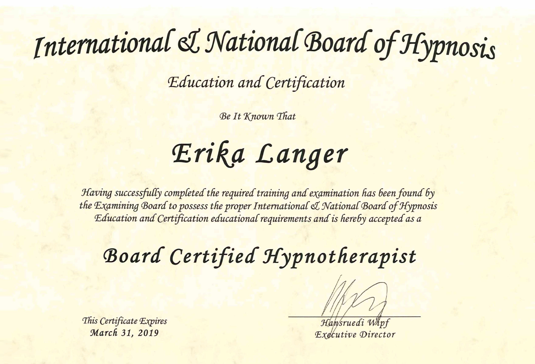 Erika Langer - Zertifikat International & National Board of Hypnosis