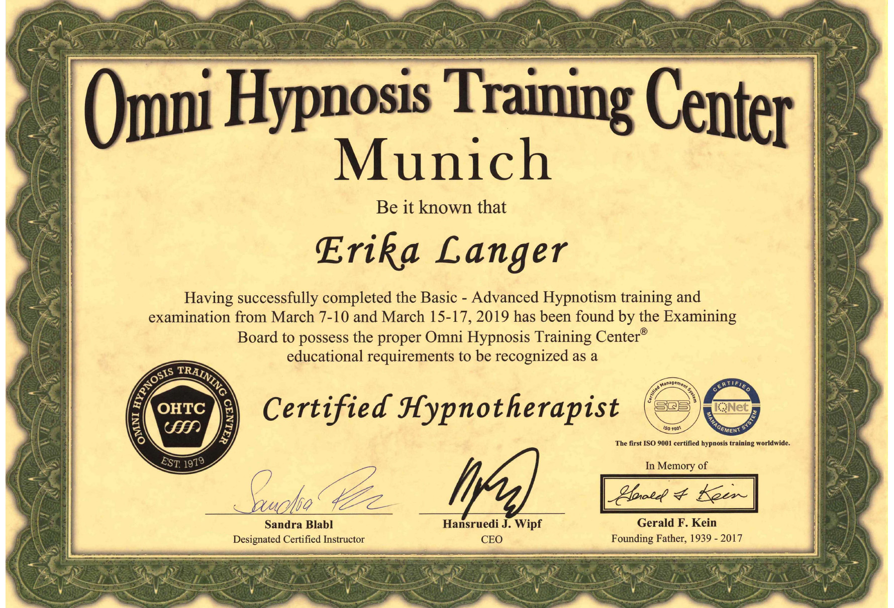 Erika Langer - Zertifikat Omni Hypnosis Trainings Center Munich Hypnotherapist