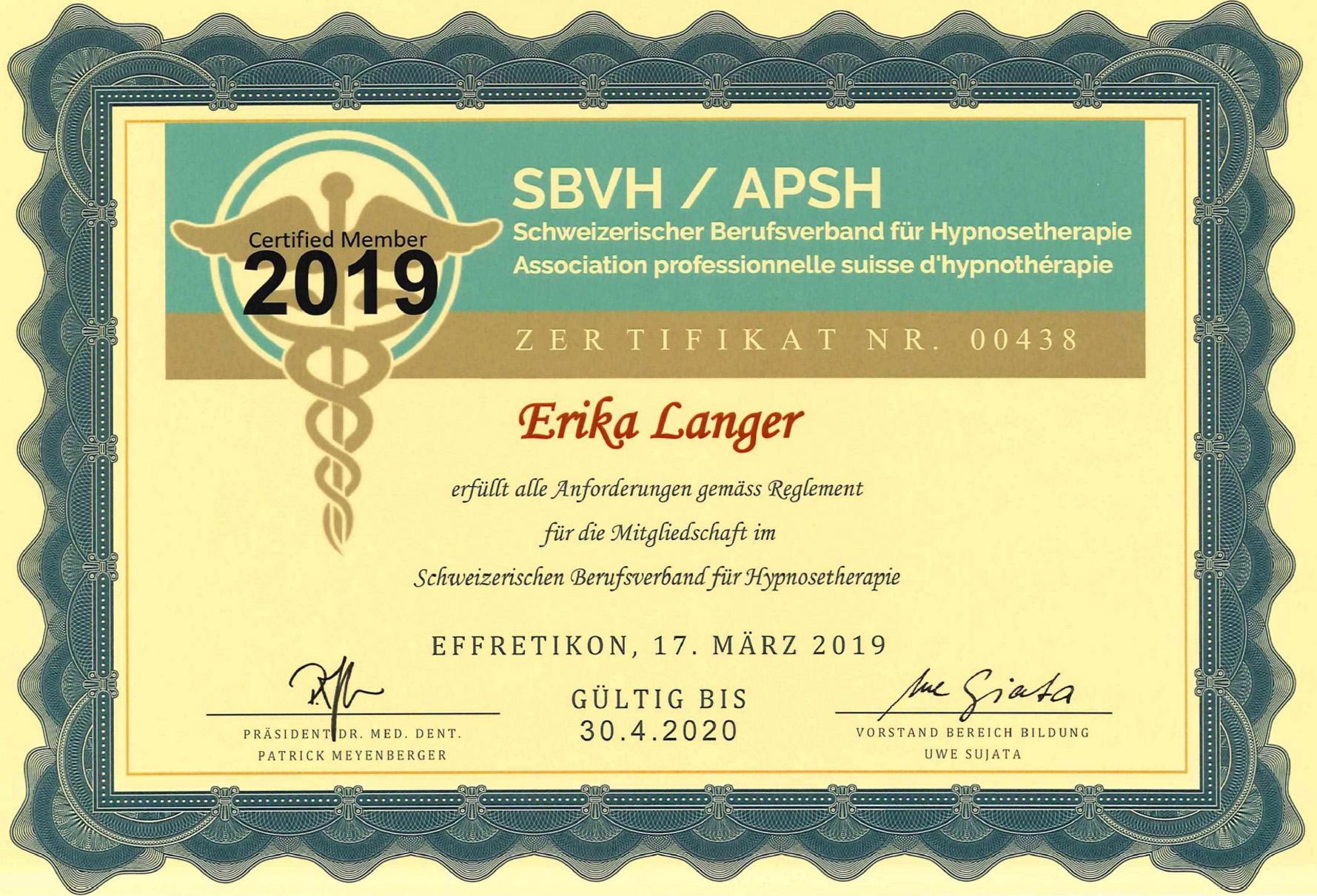 Erika Langer - Zertifikat SBVH APSH
