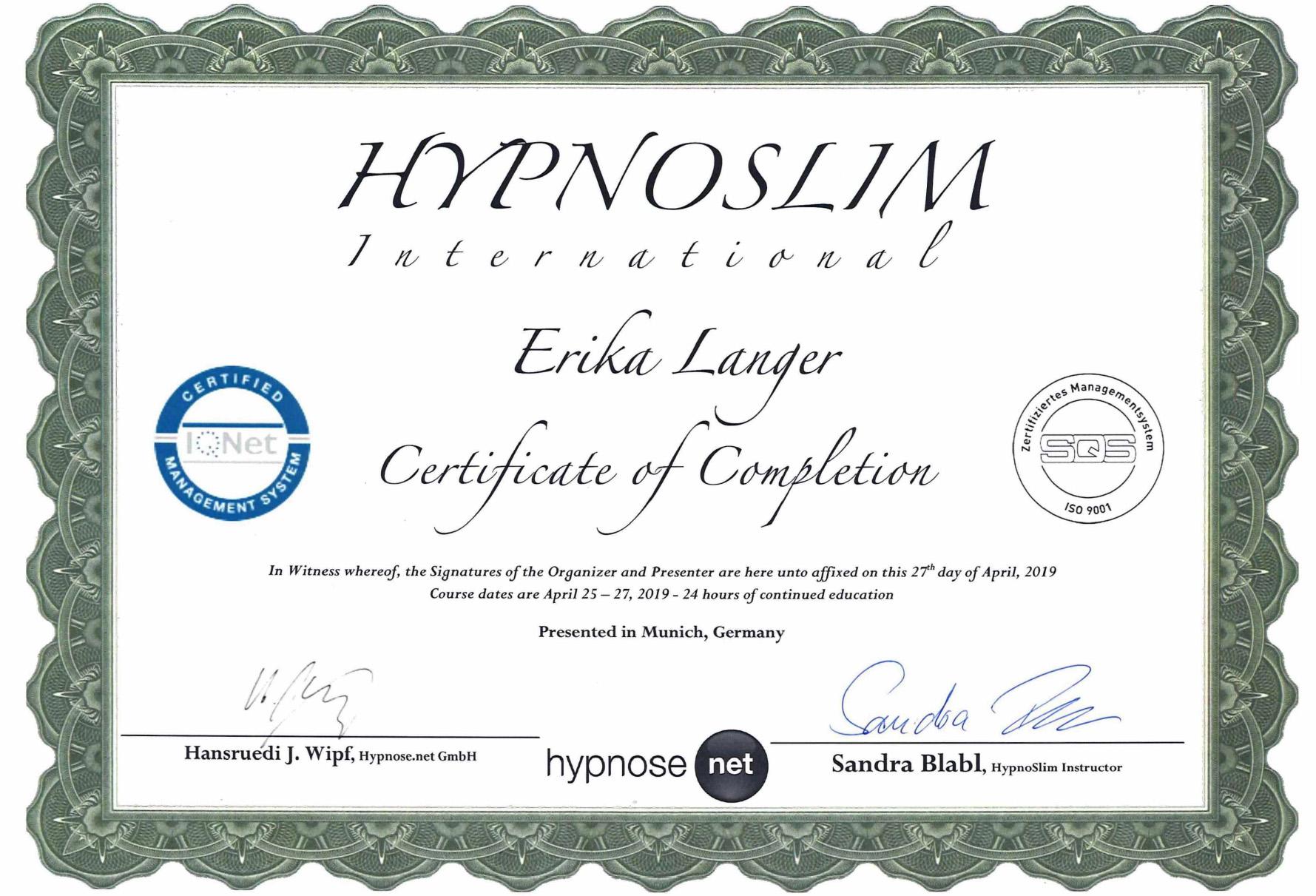 Zertifikat HypnoSlim - Erika Langer